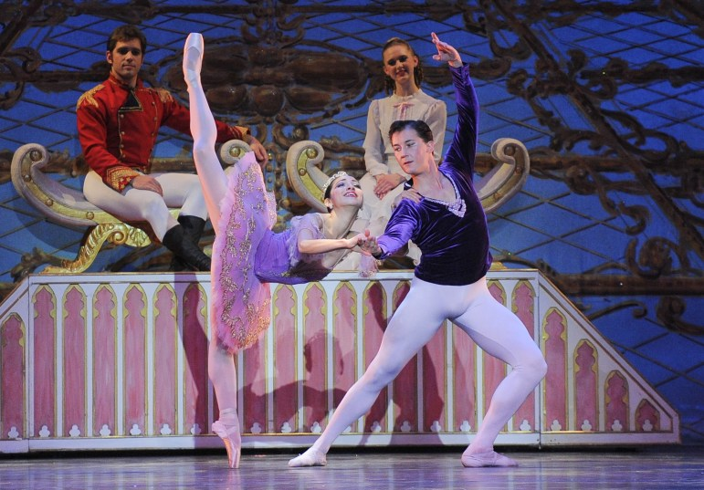 "From left, Andrew Notarile, Marie Sugawa, Allison Ivan and Leonid Flegmatov in ""The Nutcracker."""