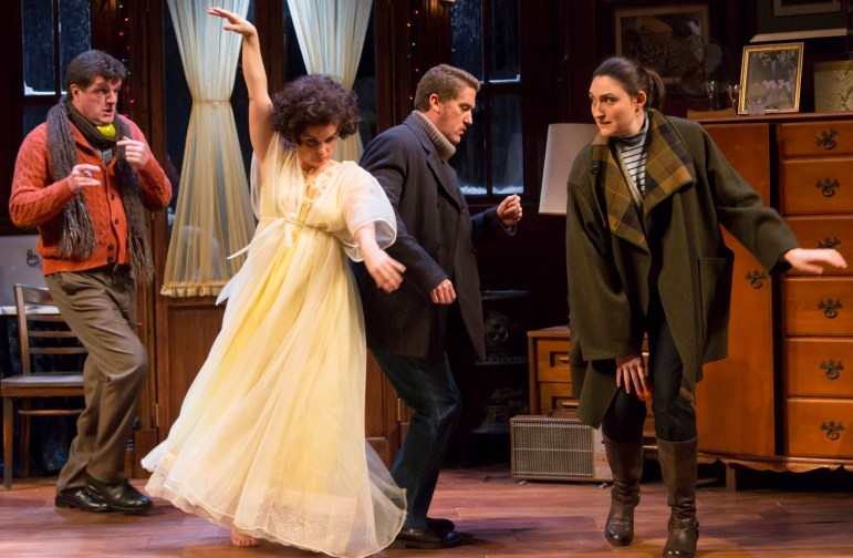 """From left, Michael Cumpsty, Mary Birdsong, Scott Drummond and Liz Wisan in """"Absurd Person Singular."""""""