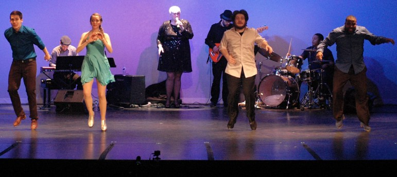 """From left, Gabe Winns, Hillary-Marie Michael, Kyle Wilder and Corey Hutchins in """"Soul Walk."""" In the background are Paul Odeh, keyboards, Emily Braden, vocals, Nathan Peck, guitar, and Andrew Atkison drums."""