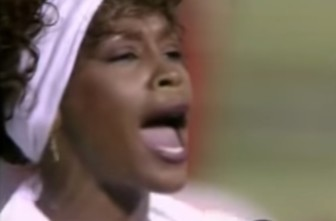 """Whitney Houston sings """"The Star Spangled Banner"""" at the 1991 Super Bowl."""