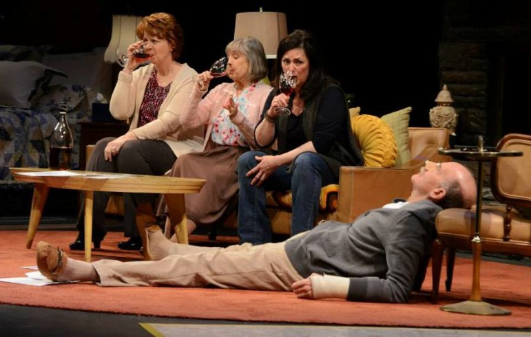 "From left, Kathleen M. Darcy, Emily Jon Mitchell, Patricia Randell and Peter Levine co-star in ""In the Car With Blossom and Len."""