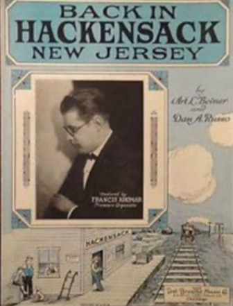 "The sheet music for ""Back in Hackensack, New Jersey."""