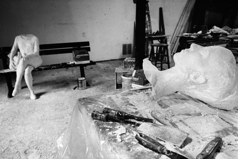 """ 'Woman on Park Bench' in Progress,"" a 1998 photograph by Donald Lokuta."