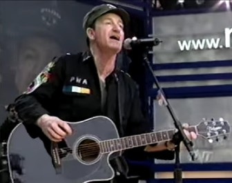 Bono at NetAid at Giants Stadium, in 1999.