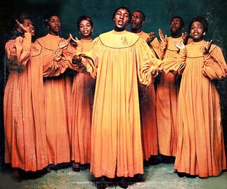 "The Drinkard Singers, in a photo used on the cover of their 1957 album, ""A Joyful Noise."""