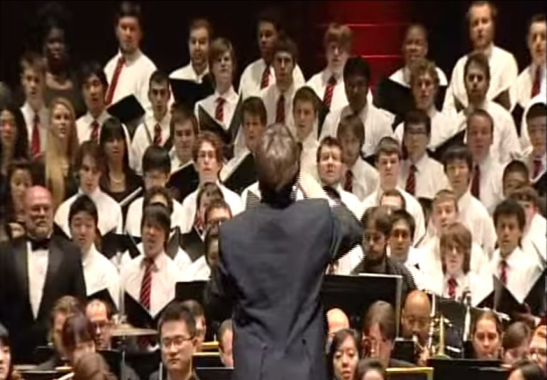 "The Rutgers Symphony Orchestra collaborated with the Rutgers University Glee Club and the Rutgers University Choir, the Voorhees Choir and the Kirkpatrick Choir to perform ""On the Banks of the Old Raritan"" at NJPAC in 2010."