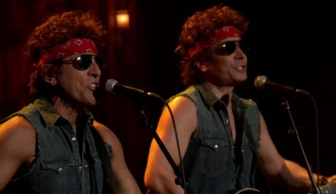 """Bruce Springsteen, left, and Jimmy Fallon on """"Late Night With Jimmy Fallon"""" in January 2014."""