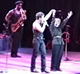 Bruce Springsteen with his mother Adele and Clarence Clemons, onstage in 1988.