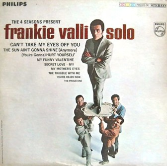 "The cover of Frankie Valli's 1967 solo album, ""The 4 Seasons Present Frankie Valli."""