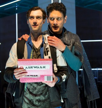 """Will Connolly, left, and Eric William Morris co-star in """"Be More Chill,"""" which is at the Two River Theater in Red Bank through June 21."""