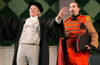 "Bruce Cromer and Jeffrey M. Bender play Holofernes and Don Armado, respectively, in ""Love's Labour's Lost."""