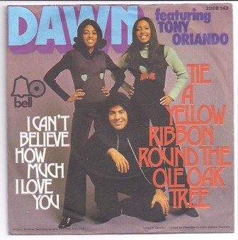 "The cover of the Tony Orlando and Dawn single, ""Tie a Yellow Ribbon Round the Ole Oak Tree."""