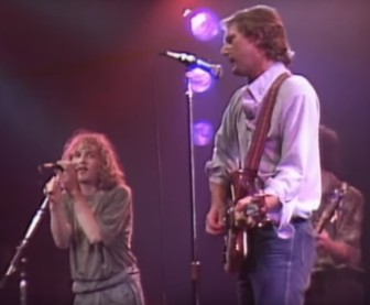 Michael Stipe of R.E.M. sings with Roger McGuinn at the Capitol Theatre in Passaic in 1984.