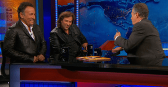 "Springsteen and illustrator Frank Caruso, who collaborated on the children's book ""Outlaw Pete,"" were interviewed together by Jon Stewart on ""The Daily Show"" last year."