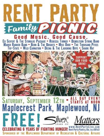 "Rent Party will present a ""Family Picnic"" at Maplecrest Park in Maplewood, Sept. 12."
