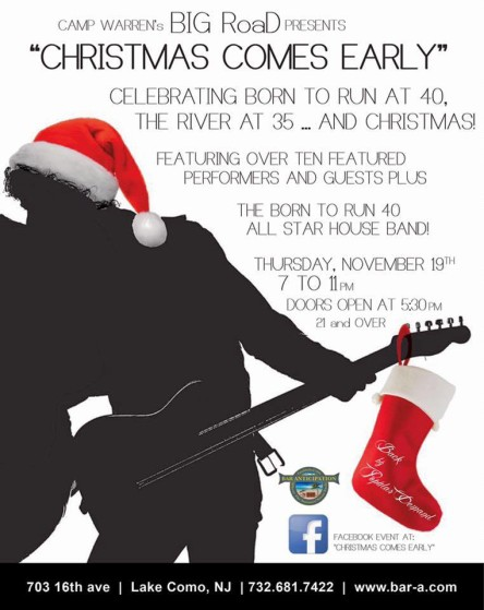 "The ""Christmas Comes Early"" concert takes place at Bar Anticipation in Lake Como, Nov. 19."