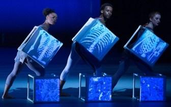 "Members of Carolyn Dorfman Dance Company in ""Traces."""