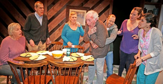 "From left, Jane Mandel, Alfred Gingold, Kim Zimmer, Thomas Molyneaux, Christopher Halladay, Claire McClanahan and Ava Eisenson co-star in ""Old Love New Love,"" which is at Luna Stage in West Orange through May 8."