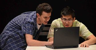 """Donald Danford, left, and Timothy Liu co-star in """"Start Down,"""" which is at the Lackland Center in Hackettstown through April 24."""