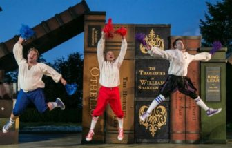 """The set of """"The Complete Works of William Shakespeare (abridged) (revised)"""" features larger-than-life books."""