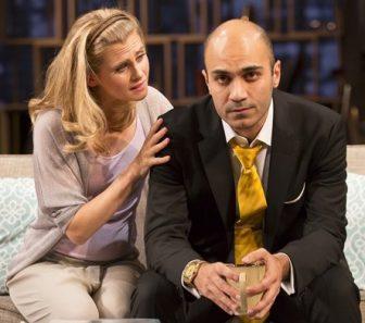 """Caroline Kaplan and Maboud Ebrahimzadeh in """"Disgraced."""""""