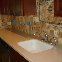 Kitchen Sink With Backsplash Commercial Aid Mixer Porcelain 4x4 Tile Accent Behind