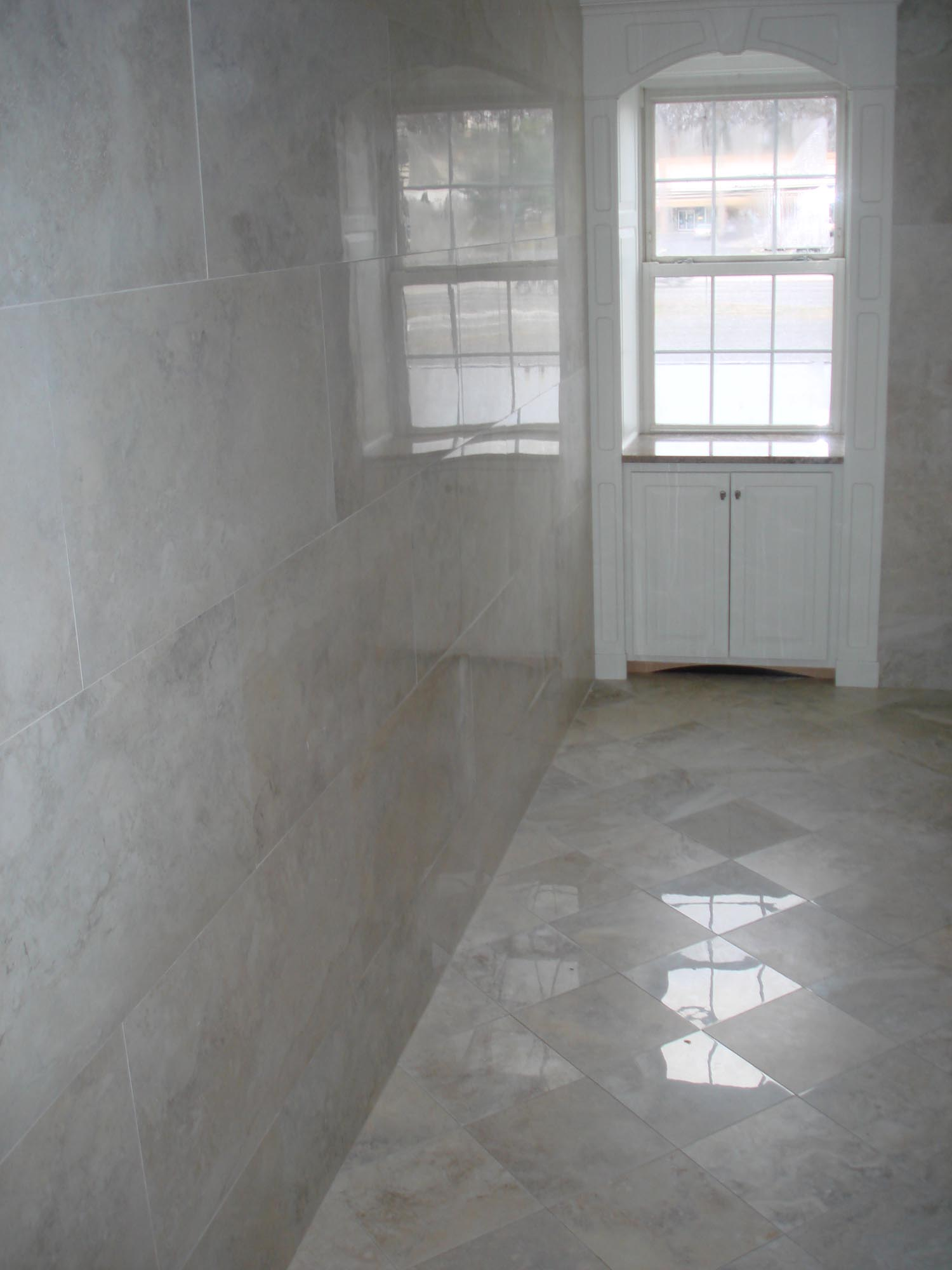 Porcelain Tile Restroom 18x36 On Walls And 12x12 Polished