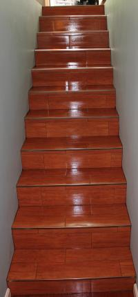 Wood tile stairs | New Jersey Custom Tile