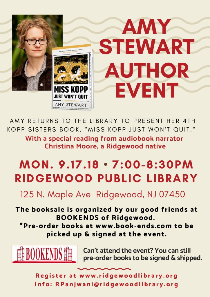 Amy Stewart Event—Miss Kopp Just Won't Quit @ Ridgewood Public Library | Ridgewood | New Jersey | United States