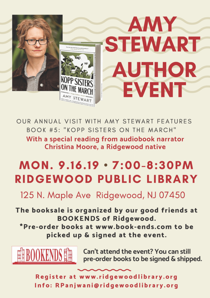 Author Event: Amy Stewart—Kopp Sisters on the March @ Ridgewood Public Library