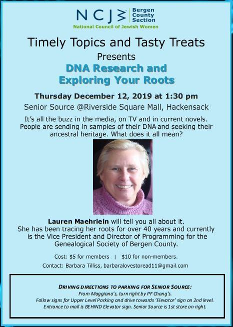 GSBC Speaker: DNA Research and Exploring Your Roots @ Senior Source @ The Shops at Riverside (Riverside Square Mall)