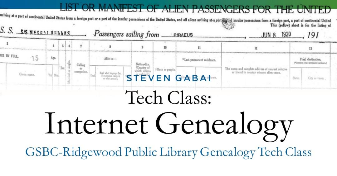 [RESCHEDULED] Genealogy Tech Class (at the Ridgewood Public Library) @ Ridgewood Public Library