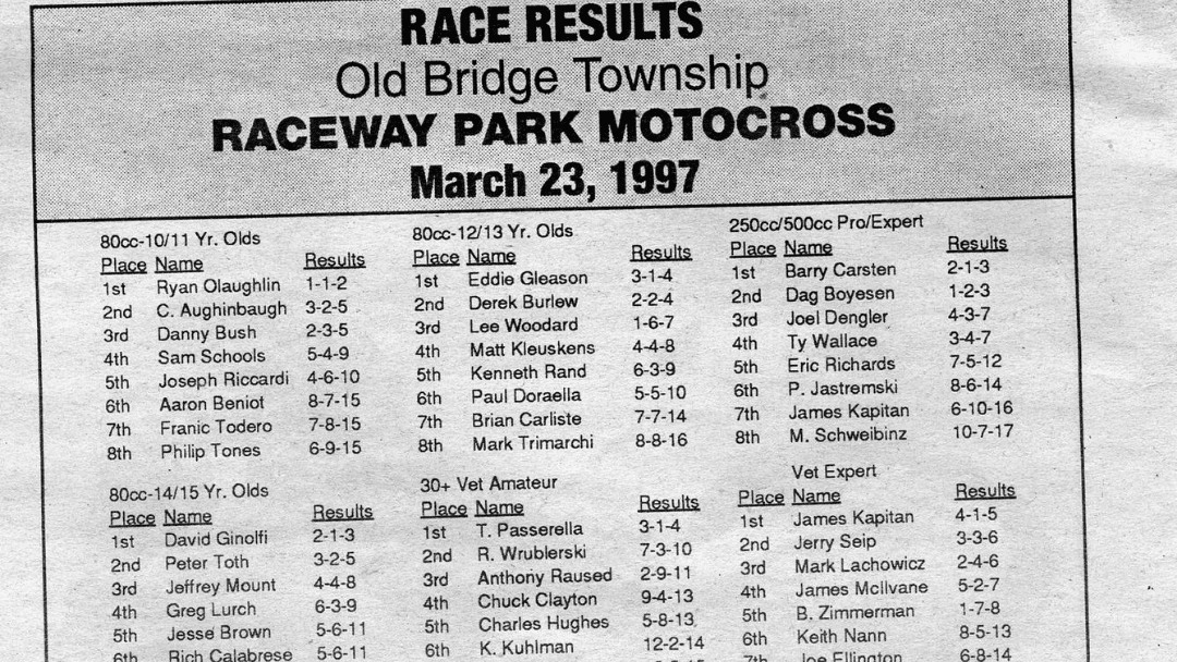 Raceway Park Results From 3/23/97