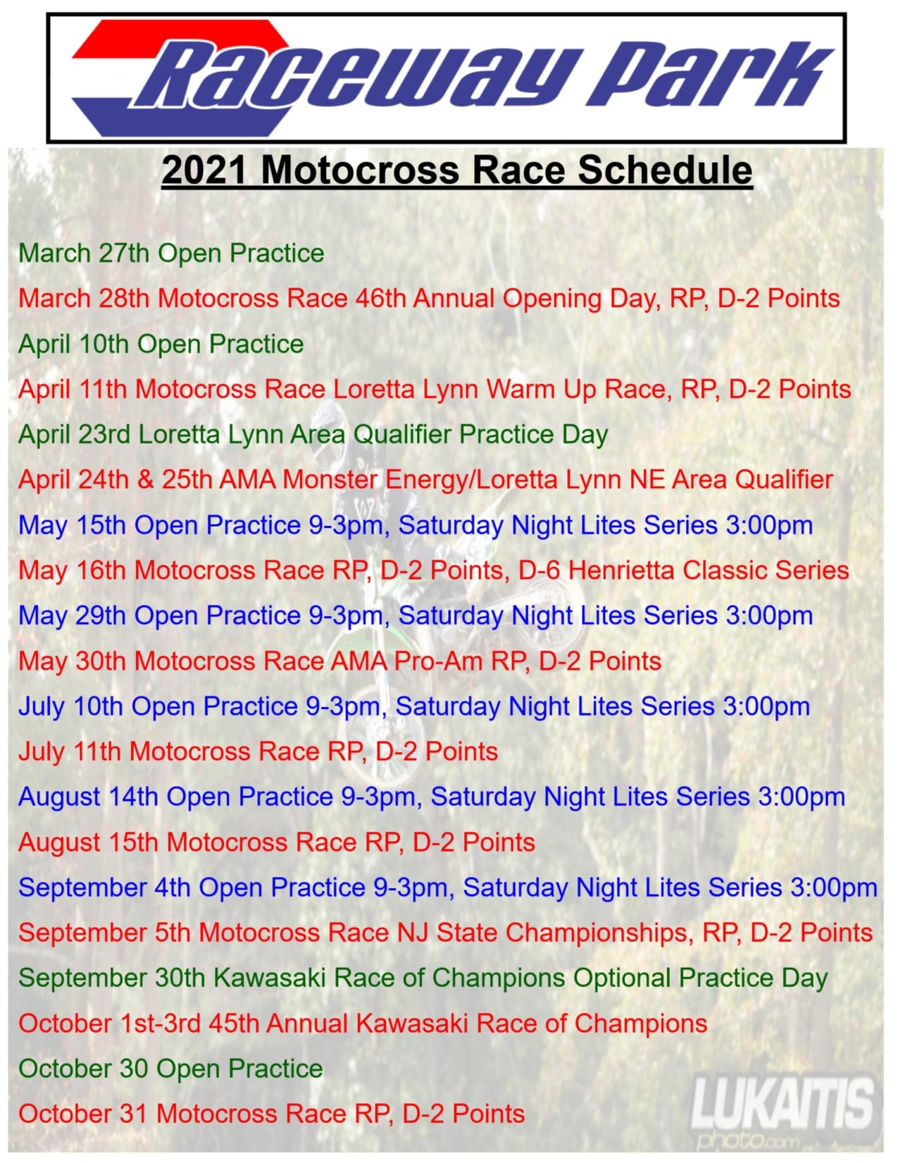 2021 Raceway Park Motocross Schedule
