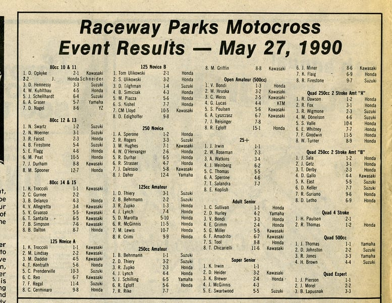 RPMX Results 5/27/90