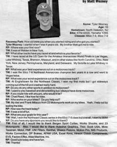Tyler Wozney, Raceway News Profile 2003