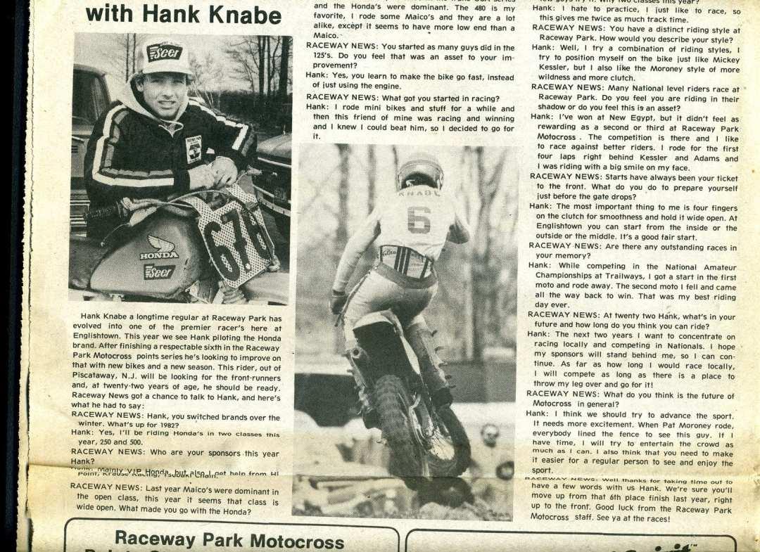 hank knabe raceway news 1982