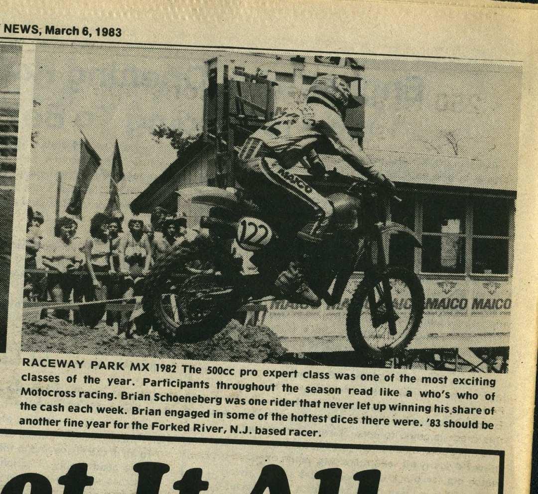 Brian Scheonberg Raceway News 1982