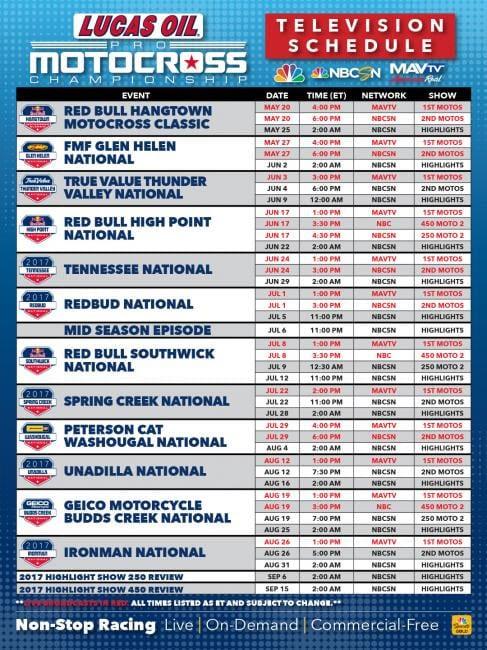 tv schedule 2017 motocross nationals