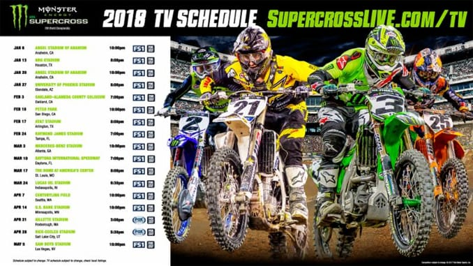 2018 monster energy supercross tv schedule