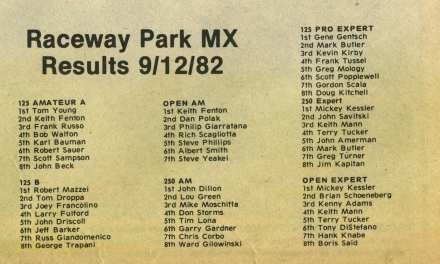 Raceway Park Motocross Results 9/12/82