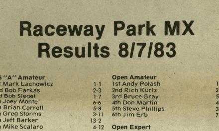 Raceway Park Motocross Results 8/7/83