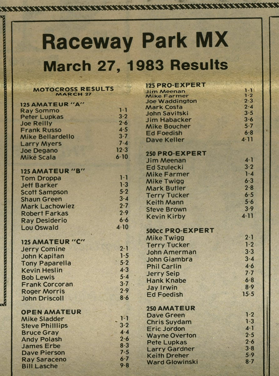 Raceway Park Results 3/27/83