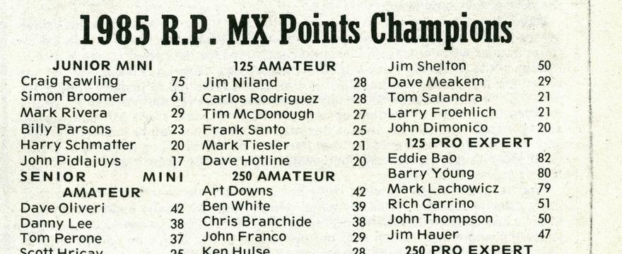 Raceway Park Final Points 1985