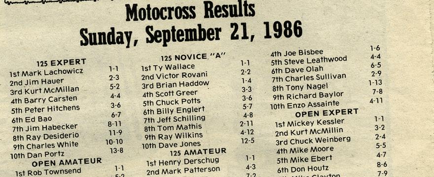 Raceway Park Results 9/21/86