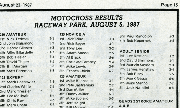 Raceway Park Results from 8/5/87