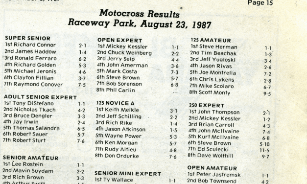 Raceway Park Results from 8/23/87
