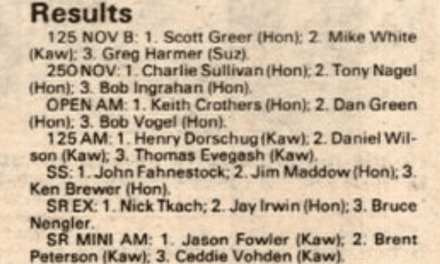 Raceway Park Results from 10/05/86