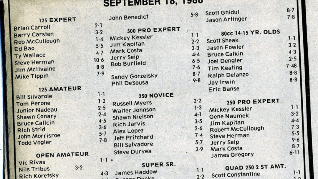 Raceway Park Results 9/18/88