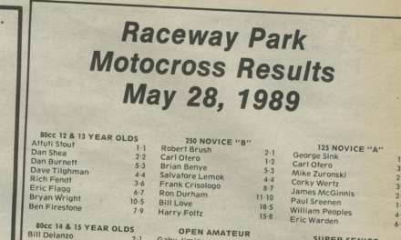Raceway Park Results from 5/28/89